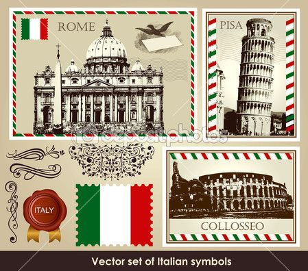 Famous Italian Symbols Vector Set Of Italian Symbols Stock