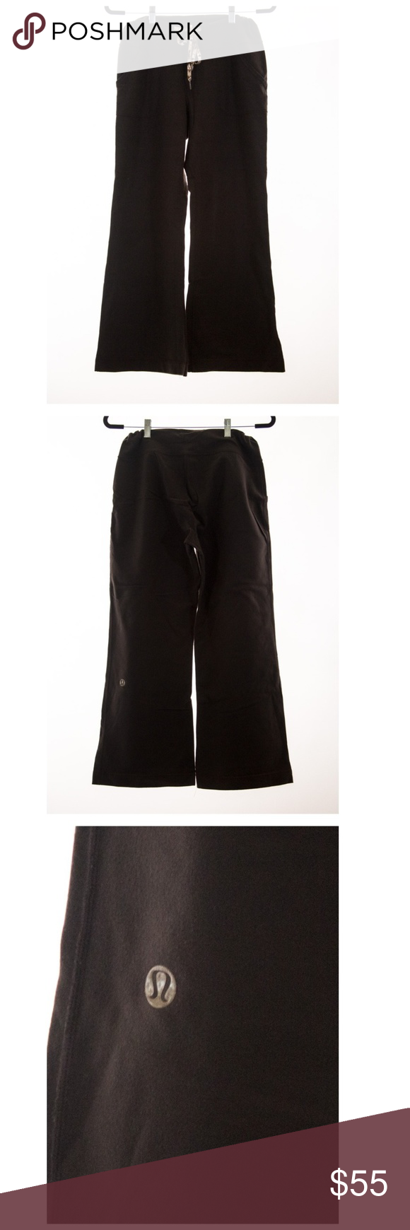 Lululemon Brown Wide Leg Pants Size 6 Wide leg Lululemon pants. pre-loved. Great condition. Waistline has a string, which has very cute images on it. lululemon athletica Pants Wide Leg