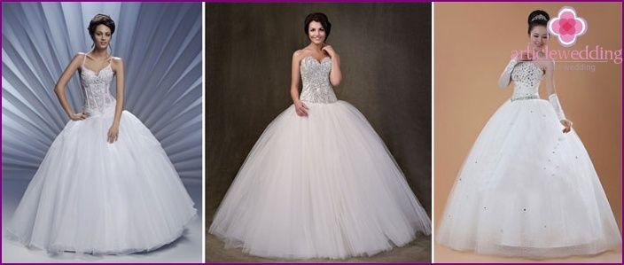 Hochzeitskleid mit Steinen: populäre Modelle und Zubehör, Foto