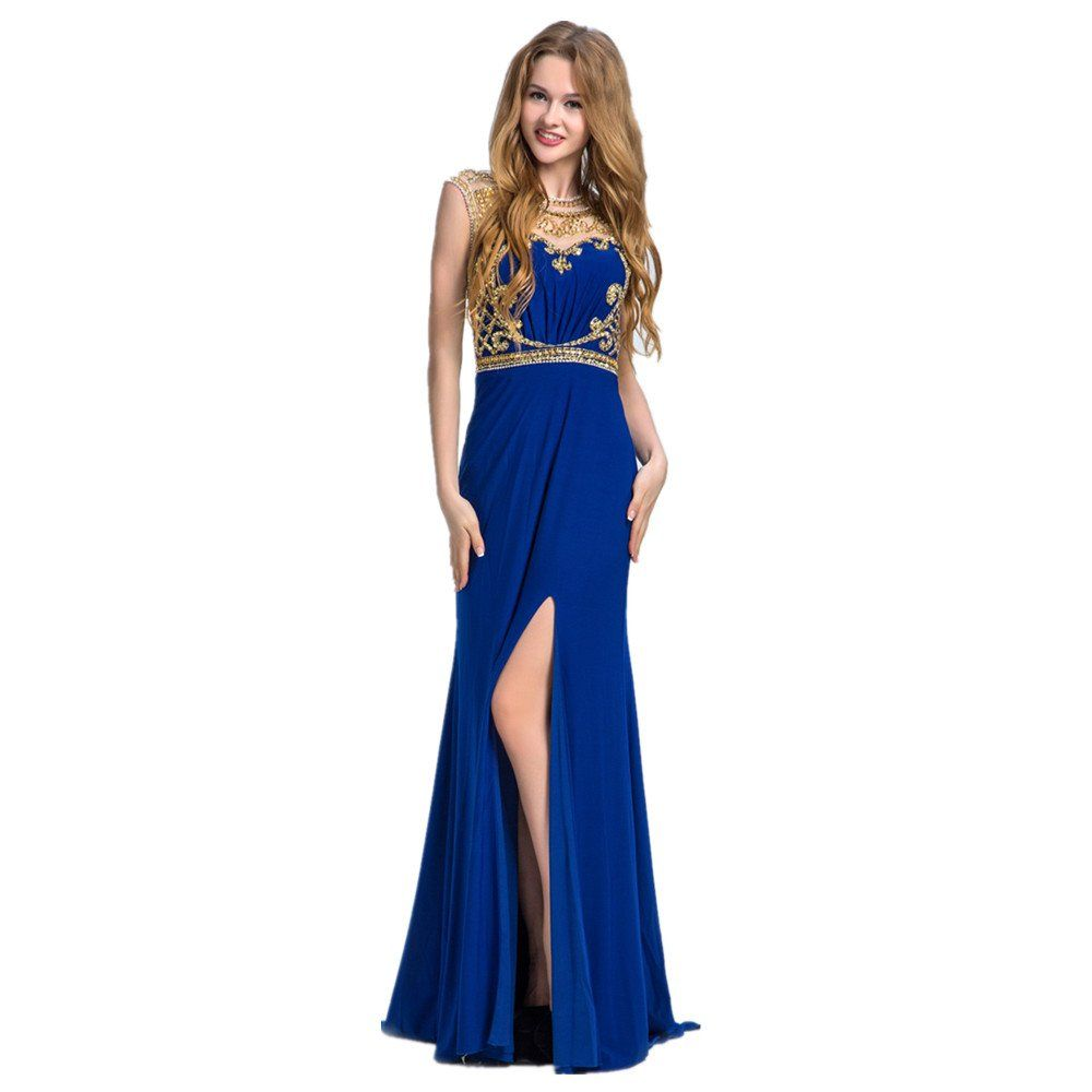 Queenvivian gorgeous blue sleeveless see though back prom dresses