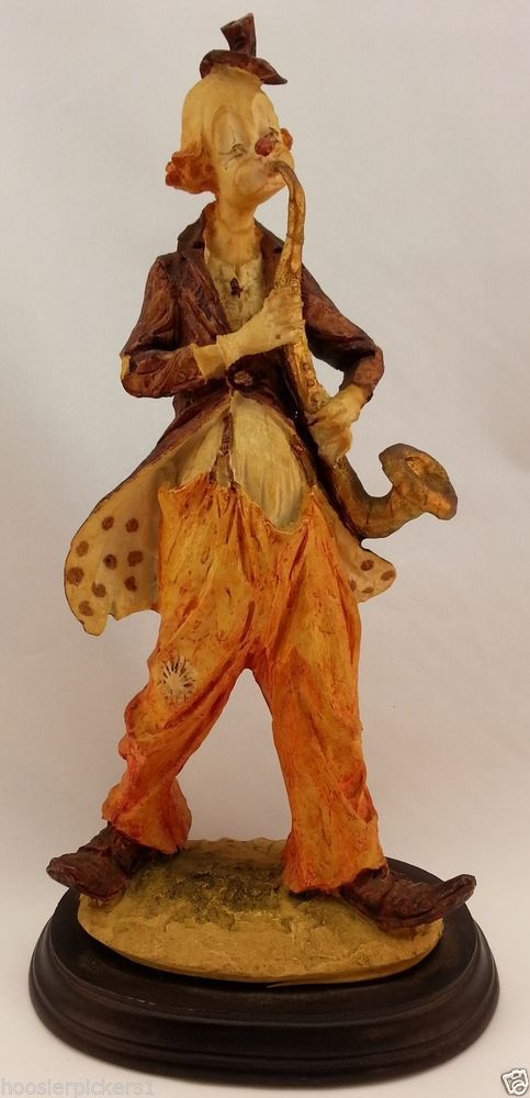 Signed Pucci Hobo Clown playing saxophone musical horn