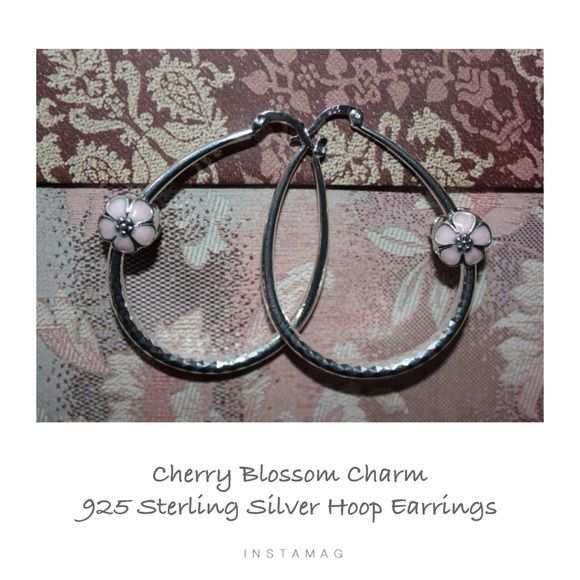 CHERRY BLOSSOM Sterling Silver Charm Earrings These 925 Sterling Silver Hoop Stunning Earrings have the added 2 Cherry Blossom Clip Pink Enamel Charms are very unique.  The hoops have a beautiful etching and the clip on charms are beautifully made.  A get match for any Pandora bracelet. JSB Jewelry Jewelry Earrings