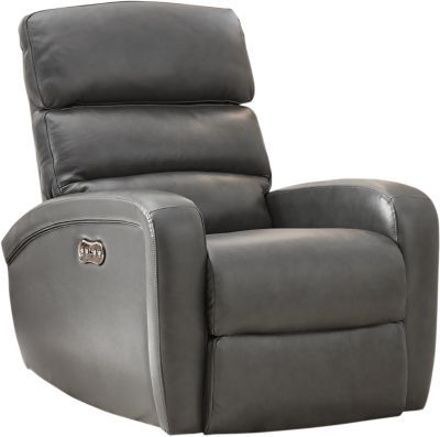 Astounding Overtown Gunmetal Leather Dual Power Recliner Oh Which Caraccident5 Cool Chair Designs And Ideas Caraccident5Info