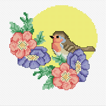 Robin With Flowers Pattern Cross Stitch Animals Cross Stitch Geometric Cross Stitch Bird