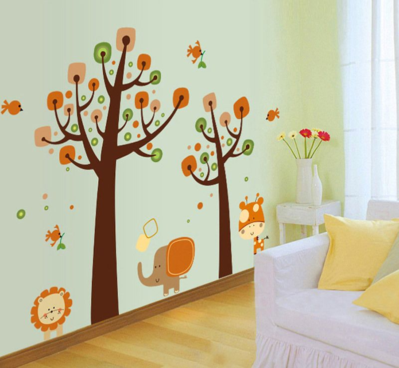 Jungle animals wall decals removable wall stickers home decor cartoon elephant cartoon nursery for Stickers para dormitorios
