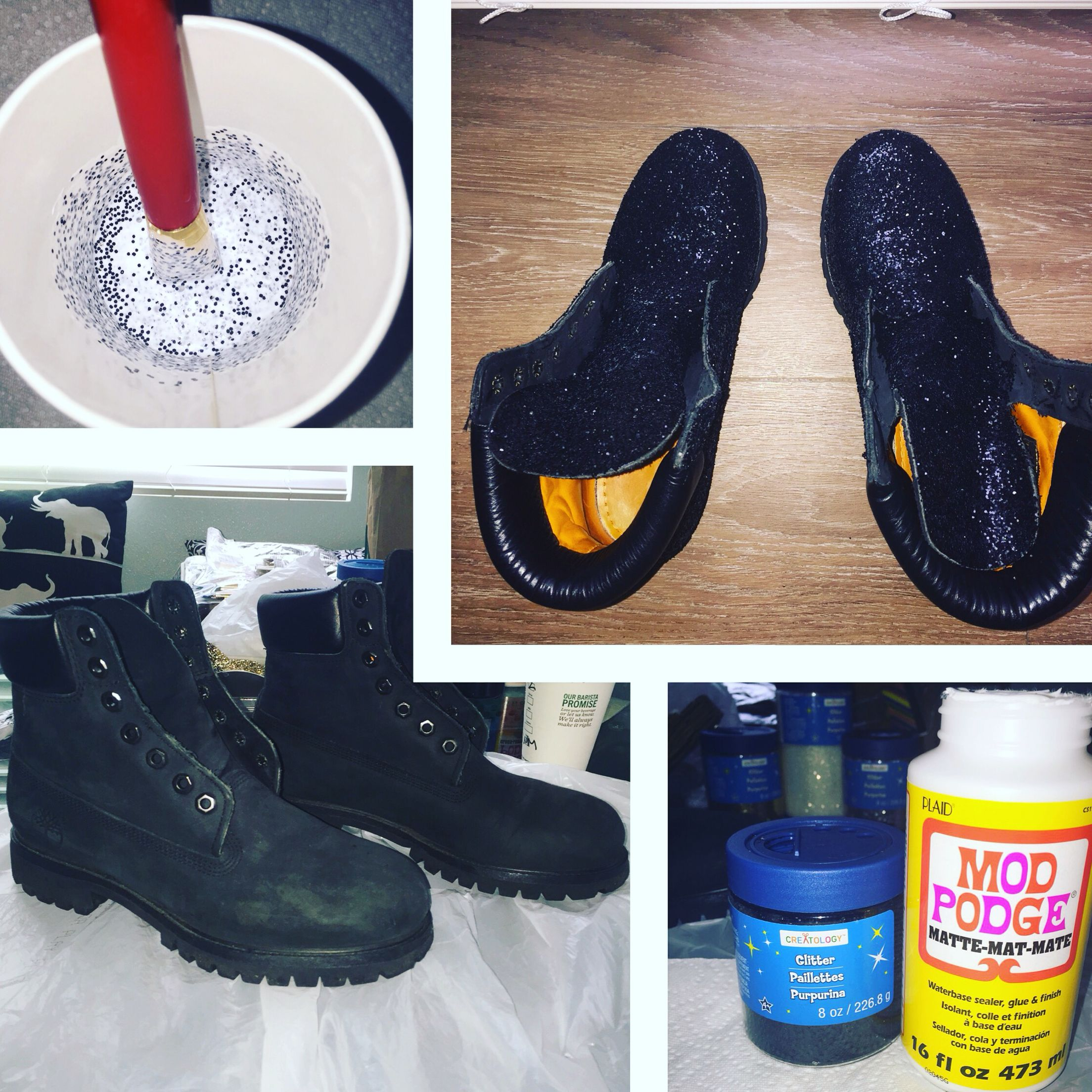 DIY Glitter Black Tims