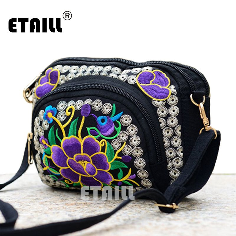 8e050fb692 Double Face Ethnic Embroidery Crossbody Bags Boho Thai Embroidered  Messenger Shoulder Bag Small Cltuch Handbag Sac a Dos Femme