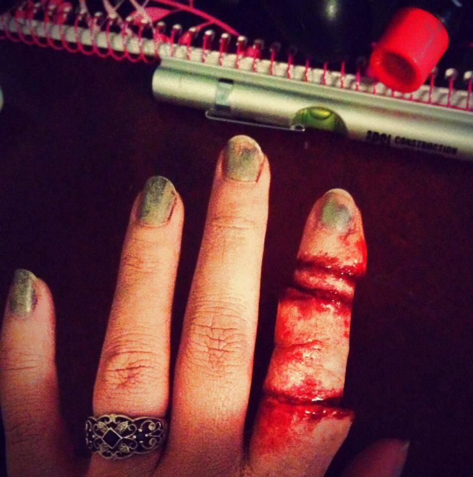 Stacked finger wound with scar wax, liquid foundation, liquid ...