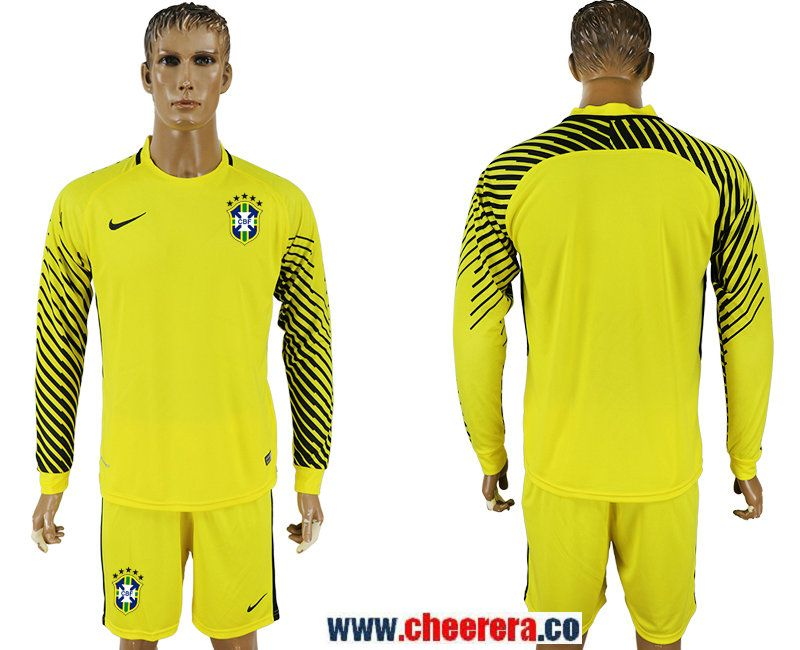 276e189d6 Brazil Yellow Goalkeeper 2018 FIFA World Cup Long Sleeve Soccer Jersey