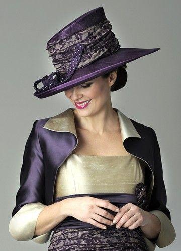 727ee97de Gold & purple mother of the bride hat design by Presen | Mother of ...