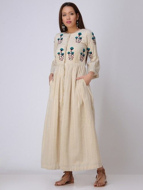 59b09234cb49e Ivory Hand Embroidered Khadi Dress in 2019 | Ethnic wear | Dresses ...