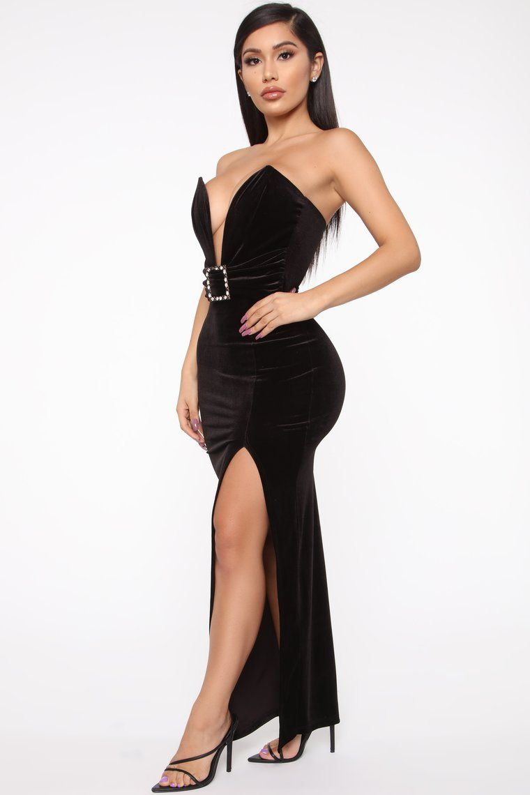 Down For You Velvet Maxi Dress - Black #blackmaxidress