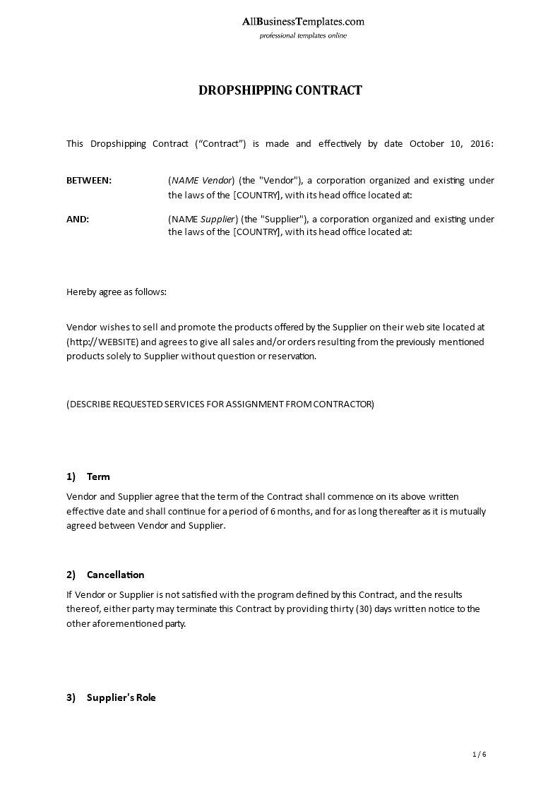 Dropshipping Contract Template  Download This Dropshipping