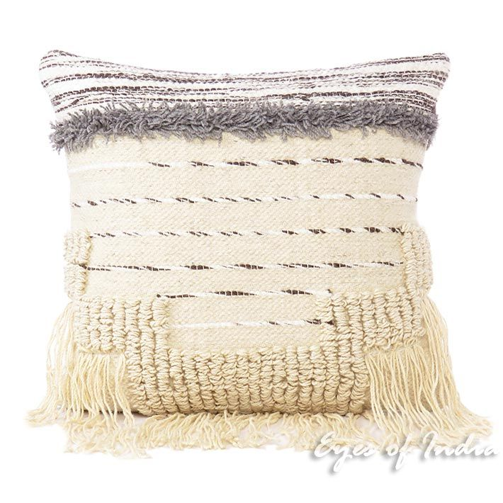 Woven Fringe Pillow Sofa Throw