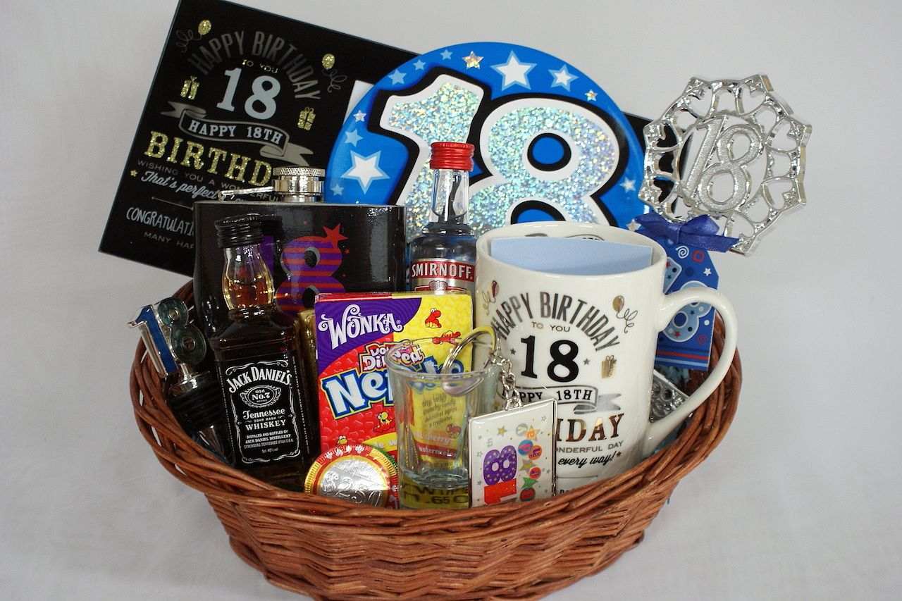 Personalised 18th Birthday Gift Basket for Boys 18th