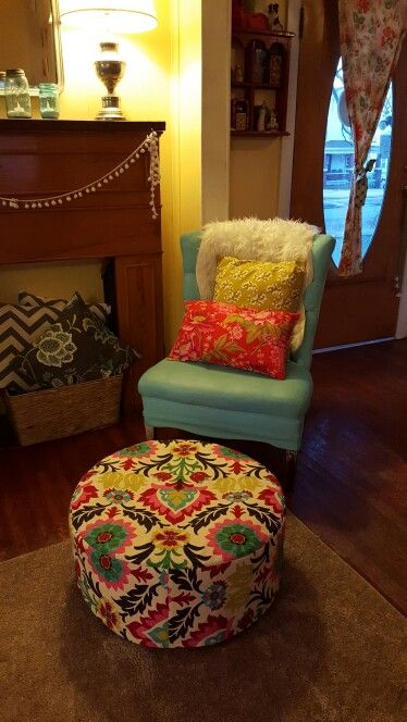 Painted Slipper Chair Ottoman Covered In Waverlys Santa Maria