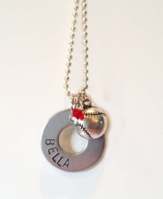 Personalized Washer Necklace With Softball Charm Makes A Great Team Gift