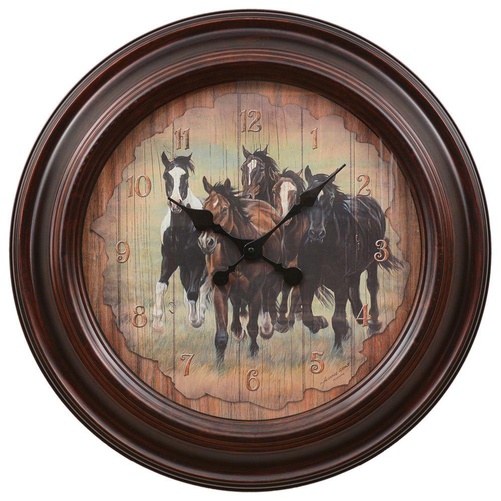 Running horses large wall clock horse