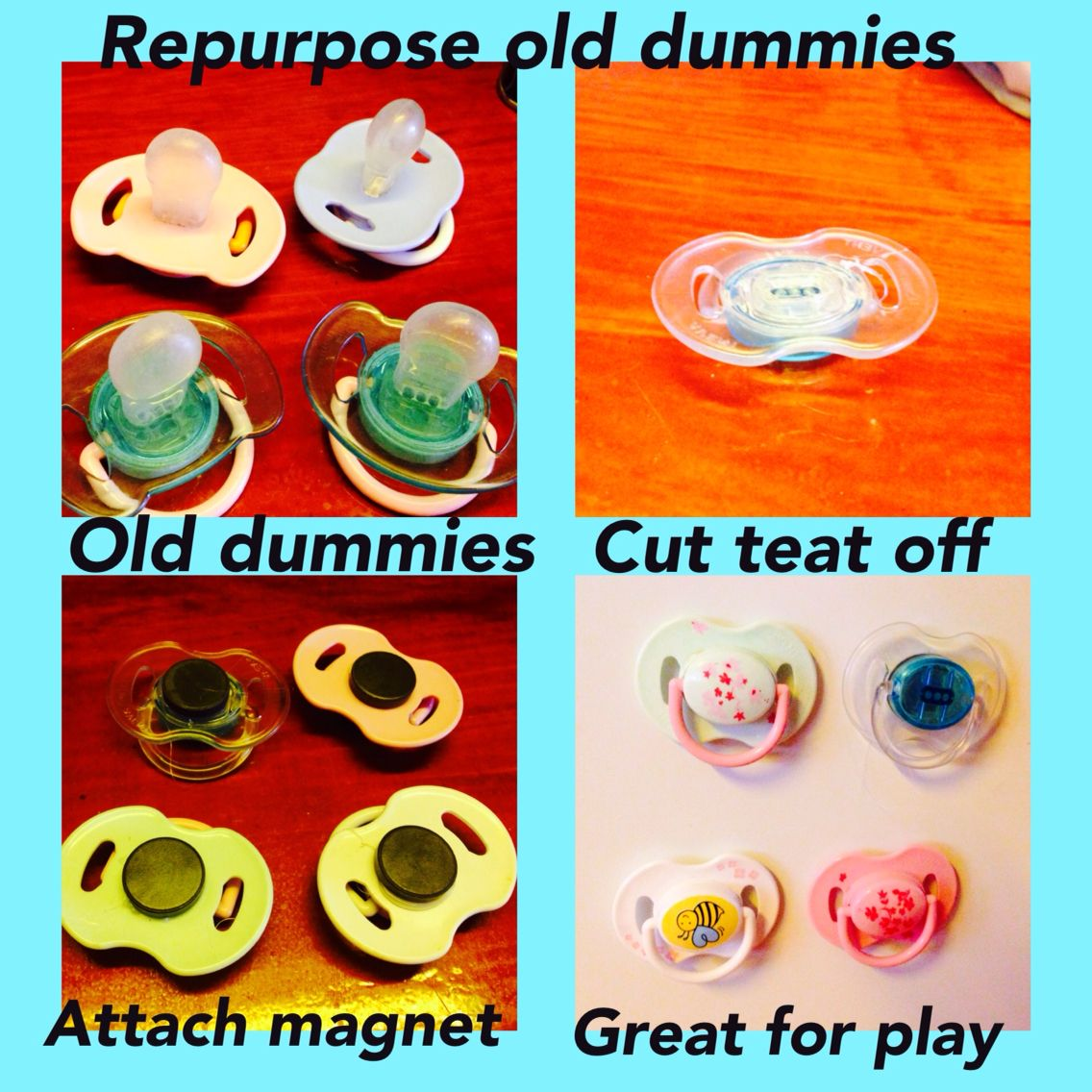 Repurpose old dummiespacifiers easy cheap and fun for the little repurpose old dummiespacifiers easy cheap and fun for the little ones to play ccuart Choice Image