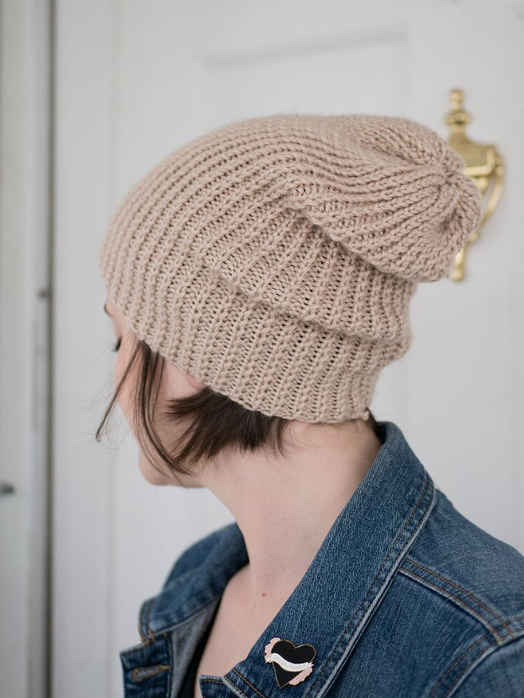 How to knit a slouchy beanie (without using circular ...