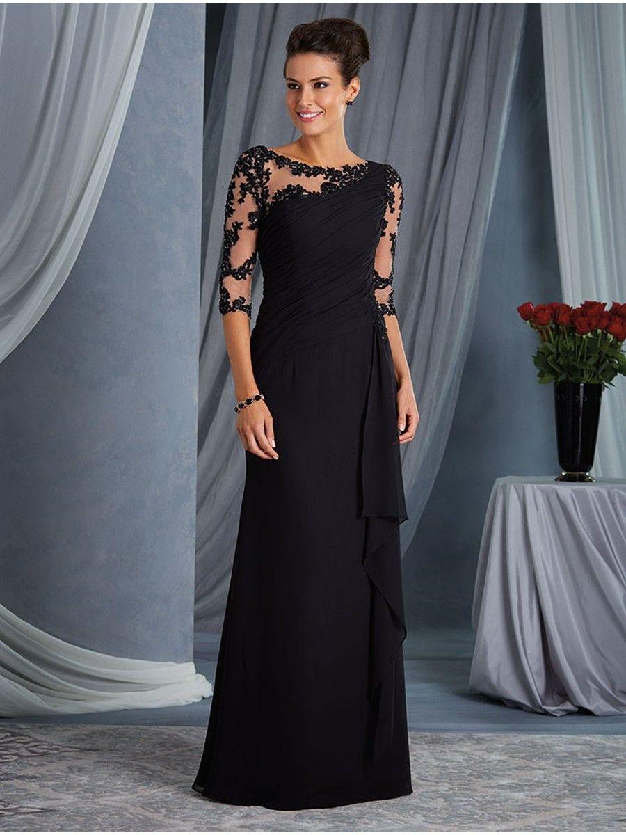 Elegant illusion bodice 34 length sleeves lace chiffon