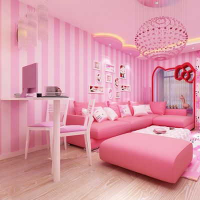 Girl Bedroom Background Wallpaper Pvc Pink Child Room Wallpaper Pink Striped Wallpaper Fo Bedroom Background Wallpaper Kids Room Wallpaper Green Interior Decor