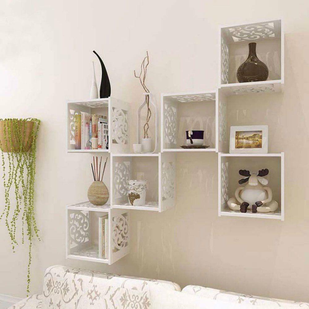 1 Pcs Creative Diy Hollow Out Storage Lattice Livingroom Tv Wall
