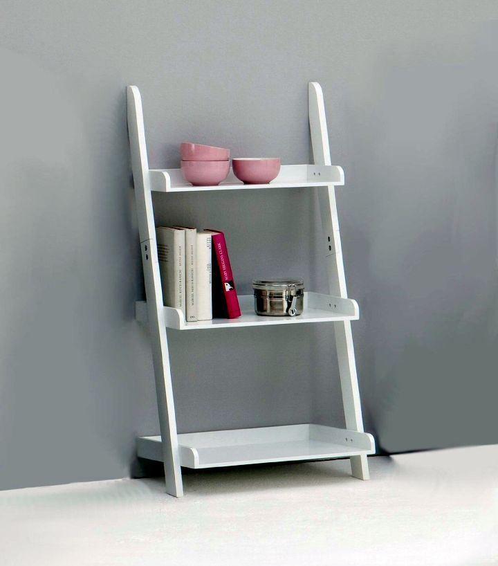 Short And White Display Ladder Shelf Small Kitchen Shelves Wood