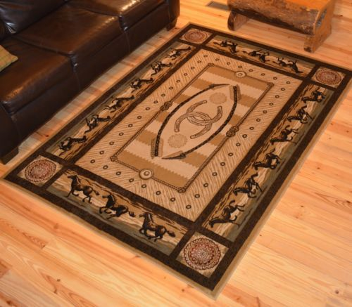 Running Horse Border Western Area Rug 2x3 Runner 4x6 5x8 7x10 8 Round Rugs And Features