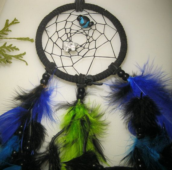 Dream Catcher  4 Inch  Turquoise  Blue  Lime by EclecticCraftVenue