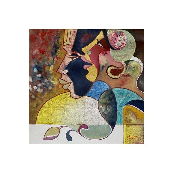 NOVICA Original Cubist Painting from India (595 NZD) ❤ liked on Polyvore featuring home, home decor, wall art, cubist paintings, paintings, novica paintings, novica home decor, face painting, woman painting and novica