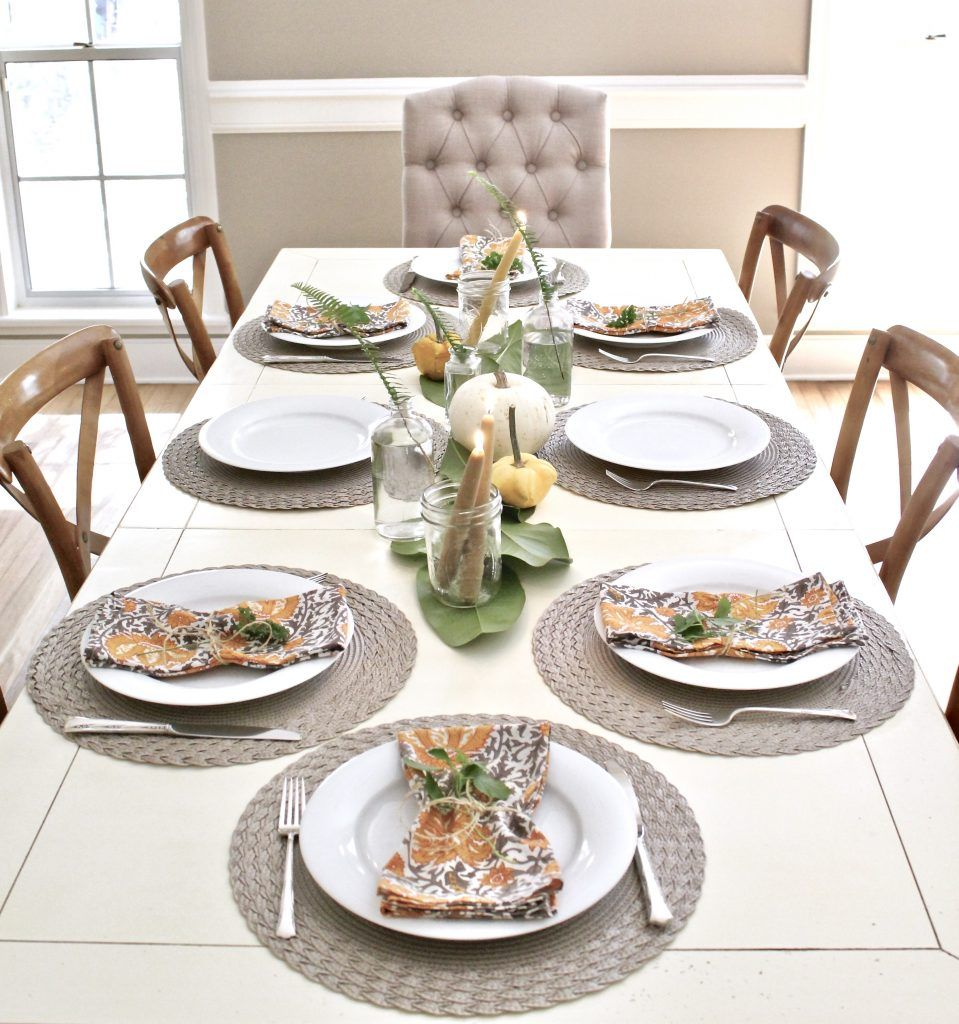 A Thanksgiving Tablescape with Greenery and Pumpkins ...