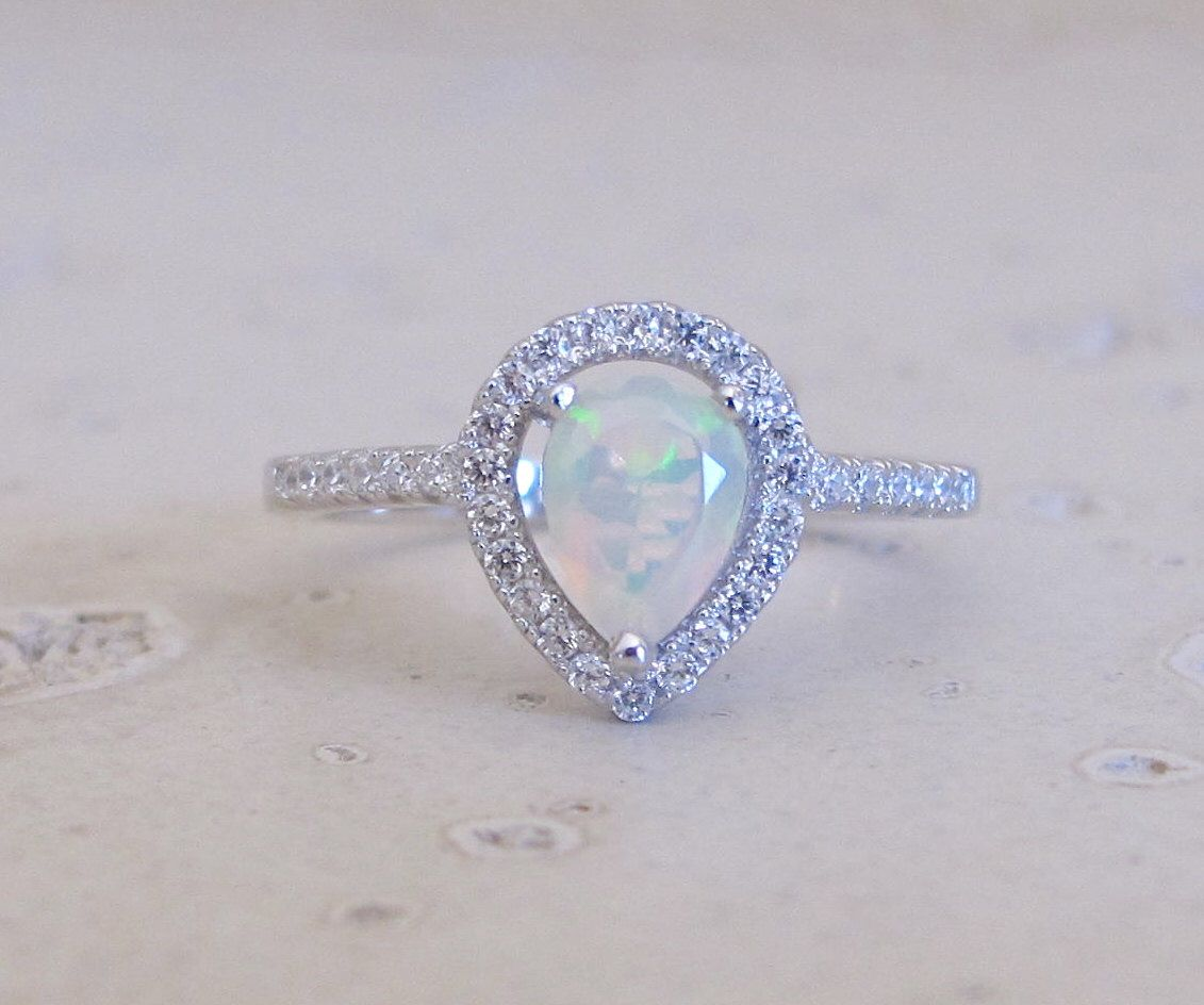 Teardrop Genuine Opal Engagement Vintage Ring Set Natural Etsy Engagement Rings Opal Natural Opal Ring Vintage Engagement Rings