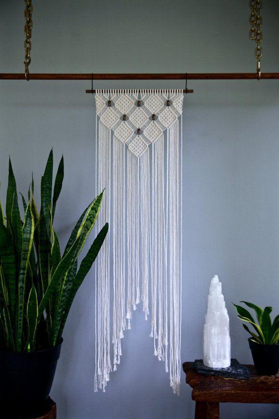 macram mural corde de coton blanc naturel sur 18. Black Bedroom Furniture Sets. Home Design Ideas