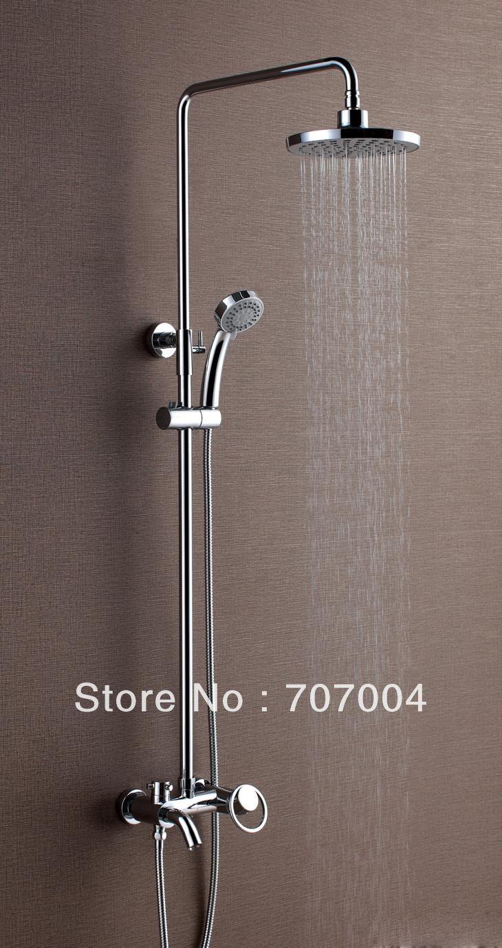New Style Chrome Finish Rain Bathroom Shower Set Faucet w/ Circle ...