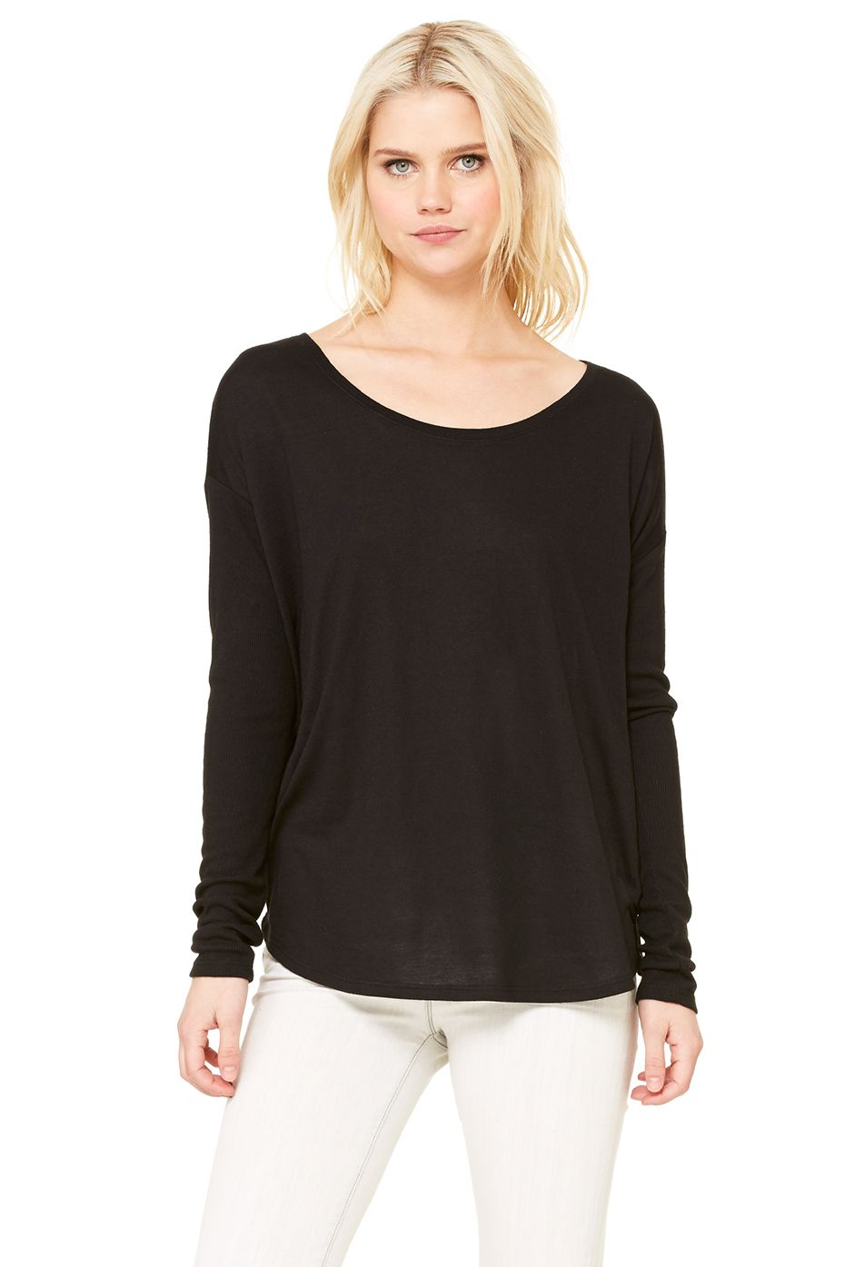 ef66a581 bella canvas women's flowy long sleeve tee w/ 2x1 sleeves   So Hot ...