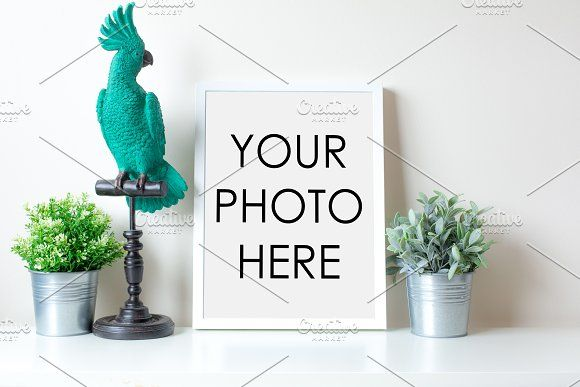 White Frame With Parrot & Two Plants | Mock up and Beauty packaging