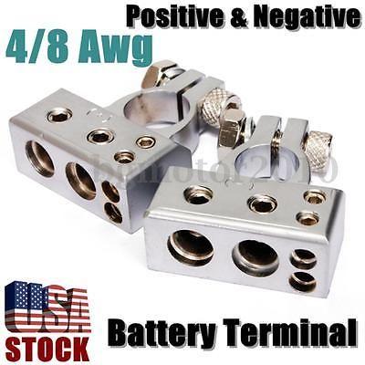 4 8 Gauge Awg Battery Terminal Car Silver Chrome Positive Negative Heavy Duty Battery Terminal Car Battery Truck Accessories
