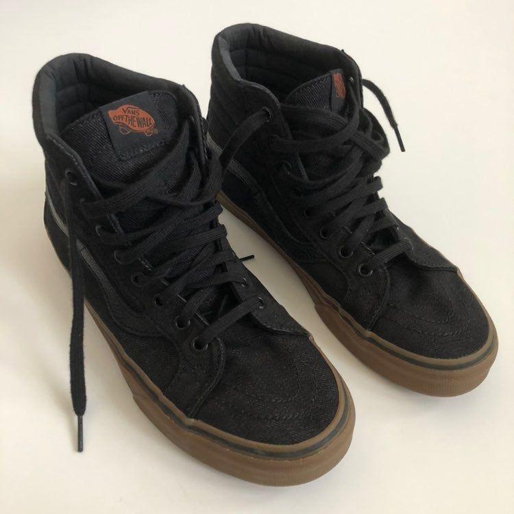 Vans sk8hi black denim, leather detail, and gum soles. EUC