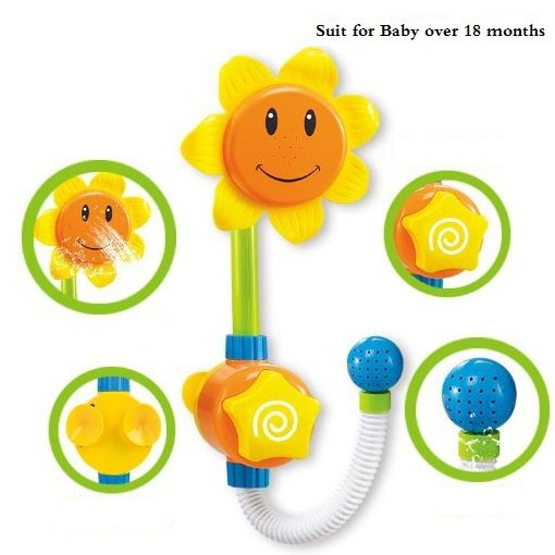 Baby Funny Water Game Bath Toy Sunflower Faucet Shower