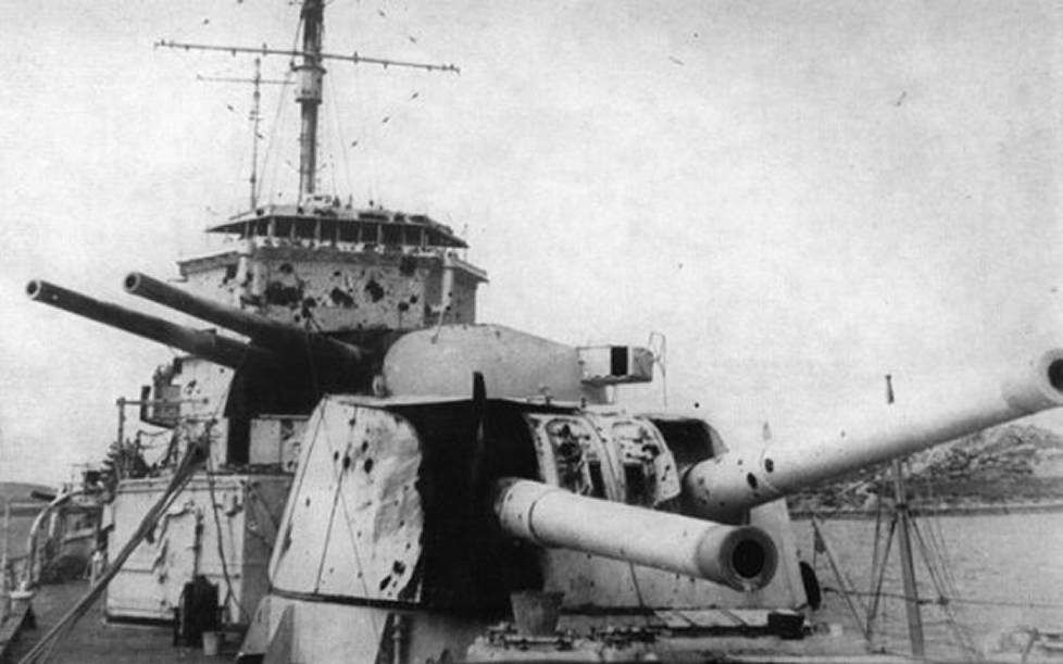 Damage To The Hms Exeter After The Battle Of The River Plate