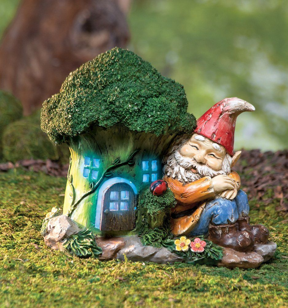 Amazon.com: Collections Etc - Lighted Gnome House Garden Decoration ...