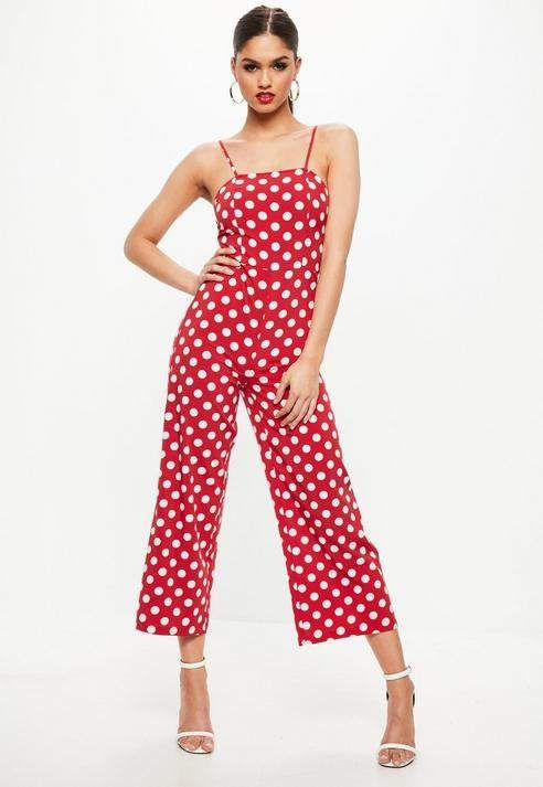 8eb3319d577 Missguided Red Polka Dot Wide Leg Strappy Romper