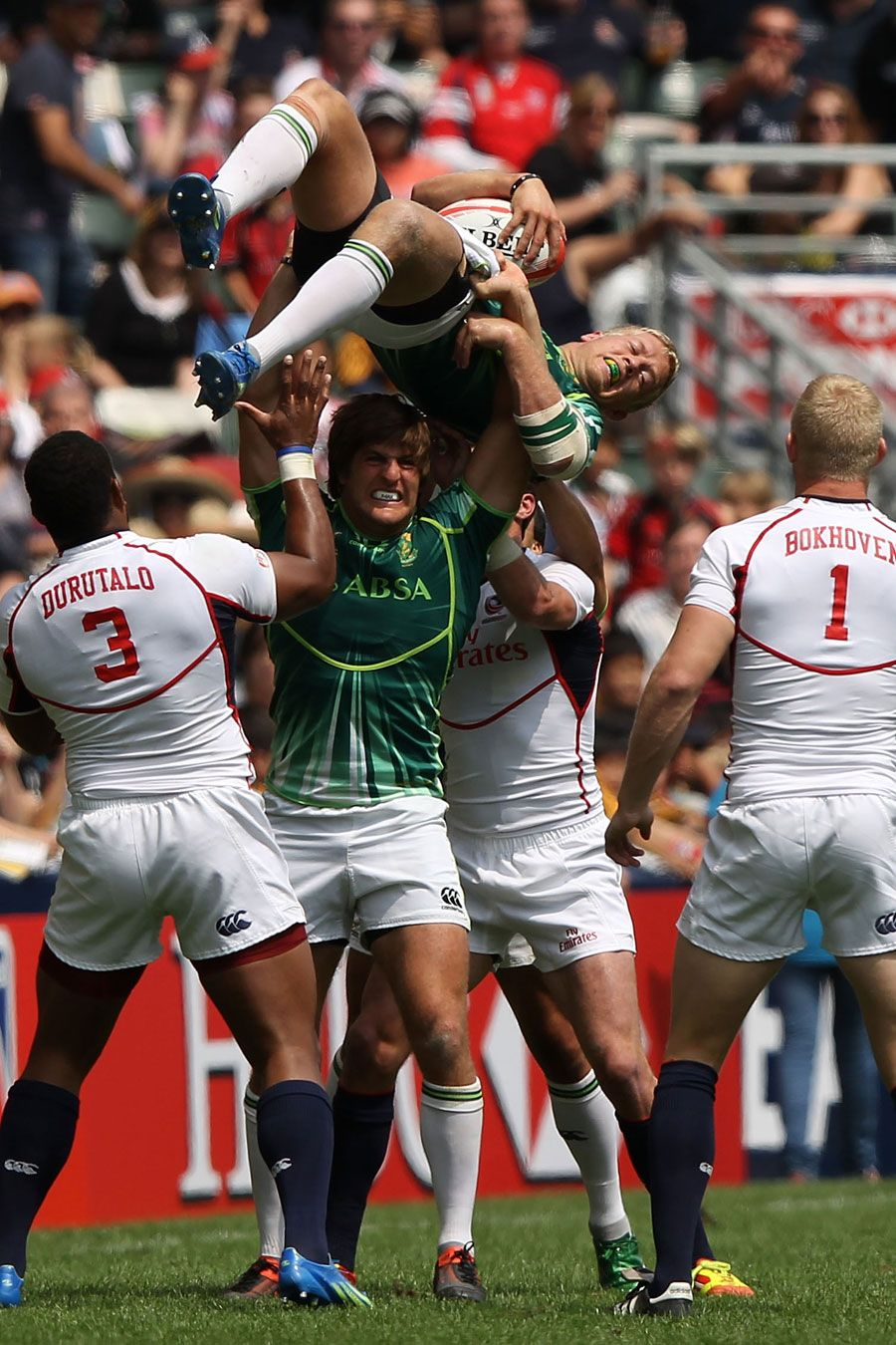 South Africa's Kyle Brown claims a lineout Rugby