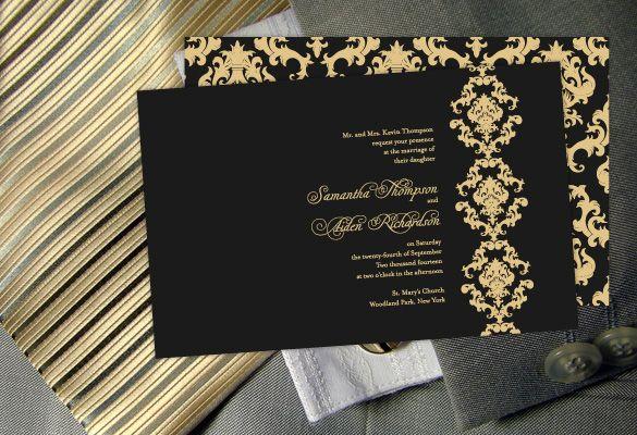 Color Monday Damask Elegance Wedding Invitation Wedding Invitations Rsvp Wedding Invitation Rsvp Wording Wedding Invitations