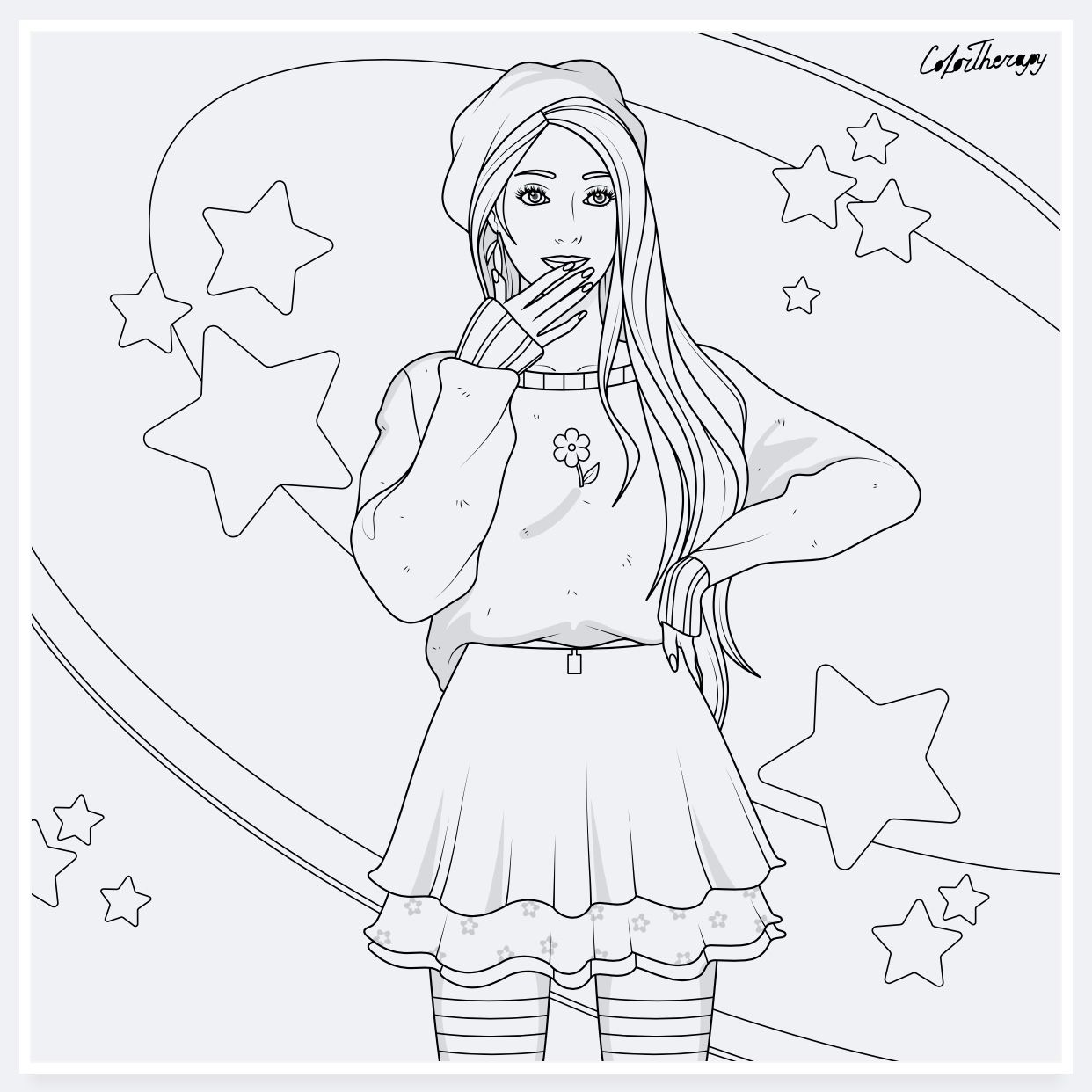 Colortherapy Cute Coloring Pages Girly Art Barbie Coloring