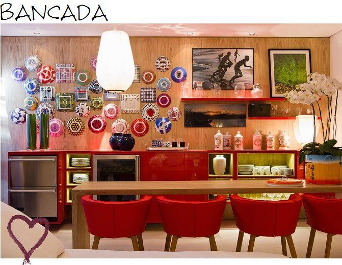 cozinha com vermelho