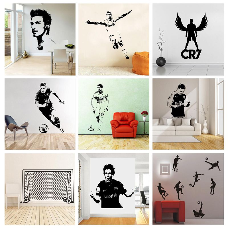 Soccer Football And Famous Soccer Players Wall Stickers Home Decor Wall  Decal For Kids Room Sport Boy Bedroom Mural Wallpaper