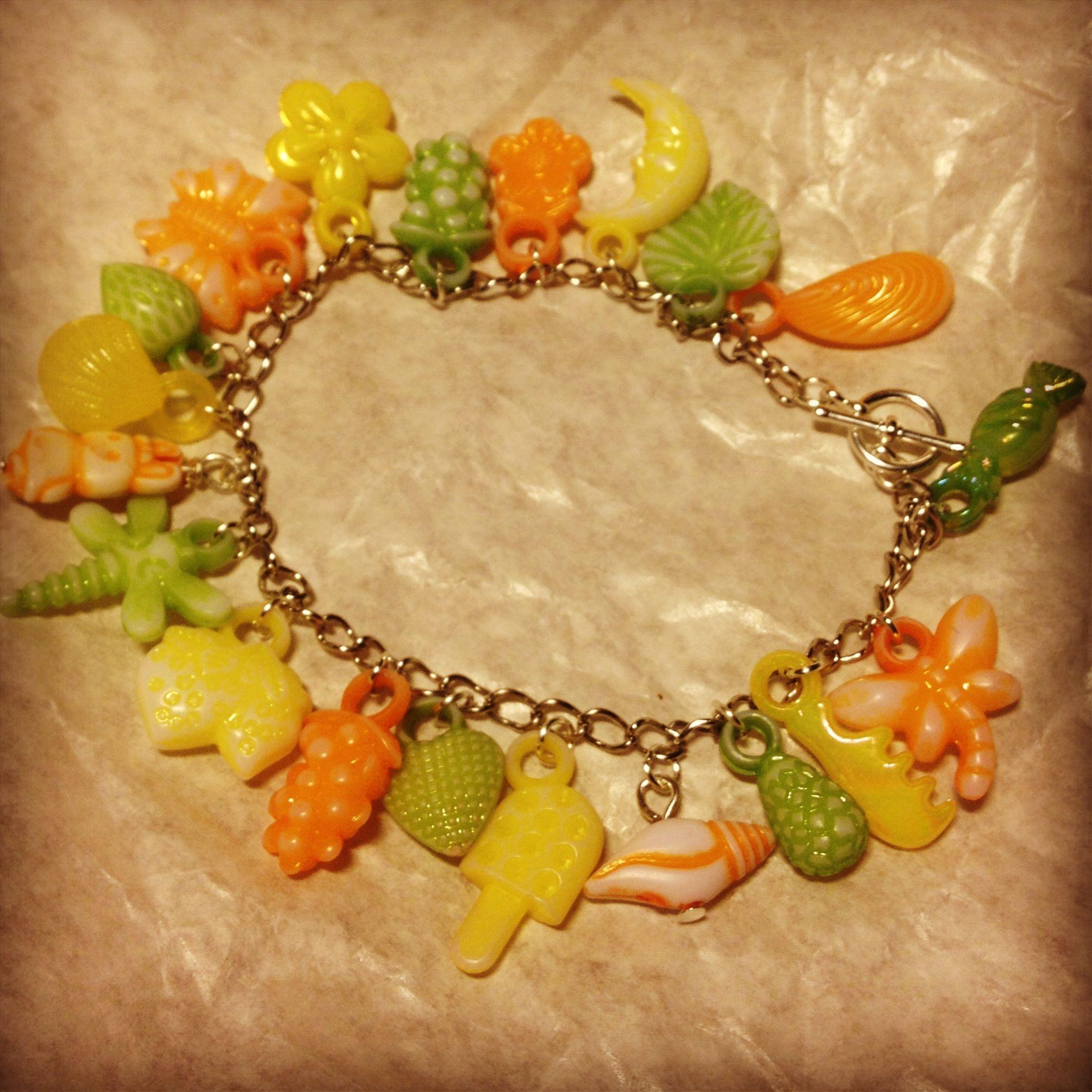 Citrus gum-ball charm bracelet