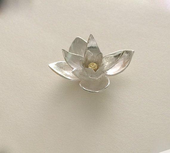 Lotus Sculpture Silver Lotus Yoga Jewelry Lotus Flower Lotus
